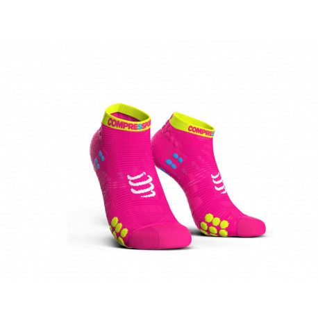 COMPRESSPORT PRO RACING SOCKS V3.0 RUN LOW FLUO PINK