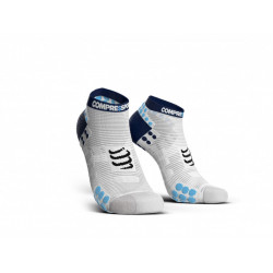 COMPRESSPORT PRO RACING SOCKS V3.0 RUN LOW WHITE BLUE