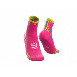 COMPRESSPORT PRO RACING SOCKS V3.0 RUN HIGH FLUO PINK