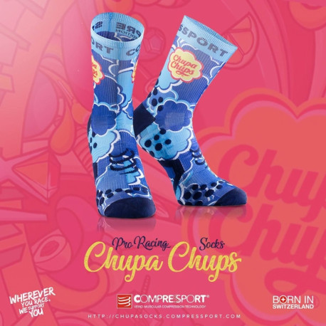 COMPRESSPORT PRO RACING SOCKS V2 CHUPA CHUPS BLUE