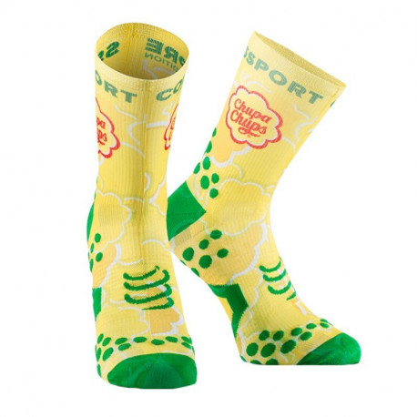COMPRESSPORT PRO RACING SOCKS V2 CHUPA CHUPS YELLOW