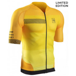 Compressport On Off Cycling Maillot Shirt Born to Ride Yellow