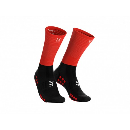 COMPRESSPORT MID COMPRESION SOCKS BLACK RED